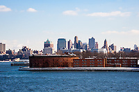 US, New York City. Castle Williams on Governors Island, from the Staten Island Ferry.