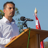 Gabor Vona leader of opposition party Jobbik and member of the Hungarian Parliament delivers his speech during an anniversary meeting of the unauthorized far-right military group Hungarian National Guard commemorating the anniversary when the organization was formed in protest against the government in Budapest, Hungary on August 25, 2012. ATTILA VOLGYI
