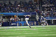 Penn State Nittany Lions punter Jordan Stout (98) kicks off after a score against the Memphis Tigers during the game of the NCAA Cotton Bowl Classic football game, Saturday, Dec. 28, 2019, in Arlington, Texas. Penn State defeated Memphis 53-39. (Mario Terrana/Image of Sport)