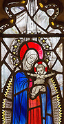Church of Saint Andrew, Little Glemham, Suffolk, England, UK stained glass window Madonna and child baby Jesus 1929 by Margaret Edith Aldrich Rope (1891-1988)
