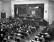 28/10/1957<br /> 10/28/1957<br /> 28 October 1957<br /> Opening of the Skal International  Congress at the Gresham Hotel, Dublin. Skål is a professional organisation of tourism leaders around the world founded in 1932. President Eamon de Valera speaking at the opening of the conference with a view of the attendance and stage.