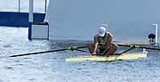 Henley-on-Thames. United Kingdom.  2017 Henley Royal Regatta, Henley Reach, River Thames. <br /> Diamond Challenge Scull. USA M1X. John GRAVES, slumped over his scull after losing the final.<br /> <br /> <br /> 16:29:56  Sunday  02/07/2017   <br /> <br /> [Mandatory Credit. Peter SPURRIER/Intersport Images.