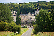 Chateau d'Usse at Rigny Usse from across the Indre River in the Loire Valley, France