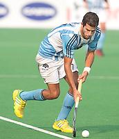 NEW DELHI - Facondo Callioni tijdens de  poulewedstrijd in de finaleronde van de Hockey World League tussen de mannen van Argentinie en Belgie. Foto  KOEN SUYK