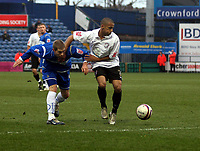 Photo: Mark Stephenson/Sportsbeat Images.<br /> Stockport County v Hereford United. Coca Cola League 2. 17/11/2007.Hereford's Lionel Ainsworth wins the ball
