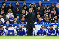 Jose Mourinho, the Chelsea Manager waving finger at Referee Michael Jones. Barclays Premier league match, Chelsea v AFC Bournemouth at Stamford Bridge in London on Saturday 5th December 2015.<br /> pic by John Patrick Fletcher, Andrew Orchard sports photography.