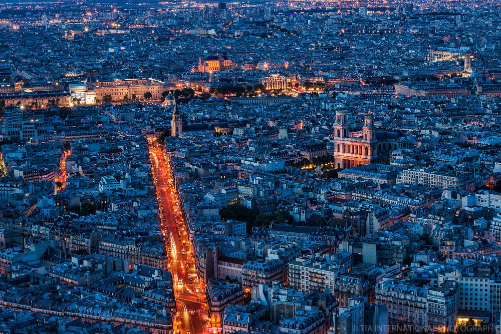 Rue Bonaparte (illuminated) & Paris Cityscape