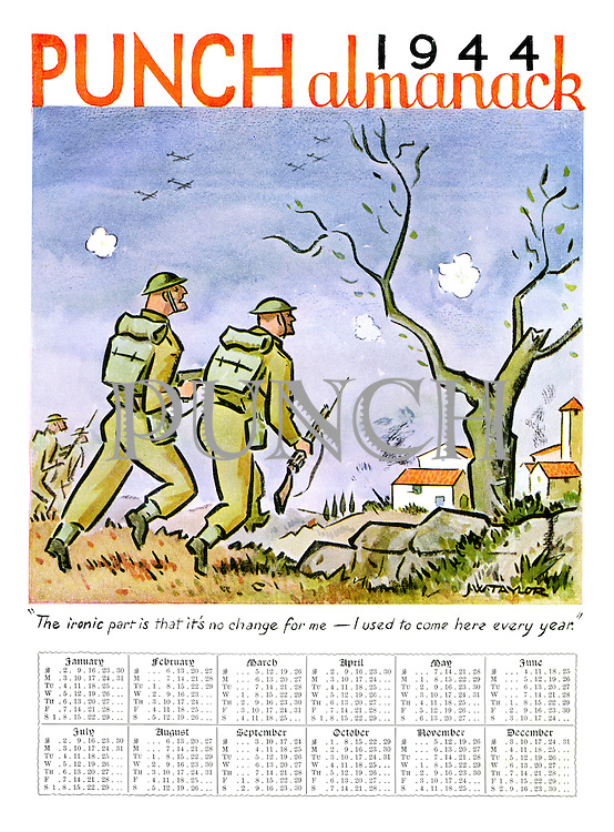 """Punch Almanack 1944. """"The ironic part is that it's no change for me - I used to come here every year."""""""