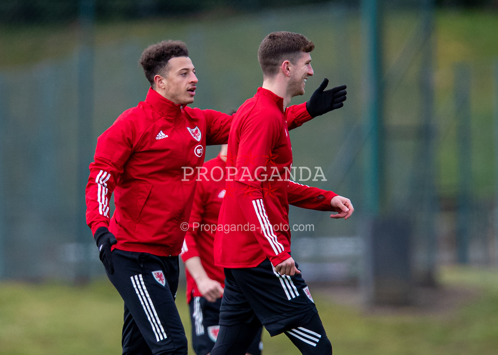 CARDIFF, WALES - Monday, March 29, 2021: Wales' Ethan Ampadu (L) and Chris Mepham during a training session at the Vale Resort ahead of the FIFA World Cup Qatar 2022 Qualifying Group E game against the Czech Republic. (Pic by David Rawcliffe/Propaganda)