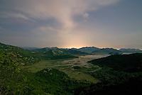 Lake Skadar, Poseljane village in full moonlight, Montenegro