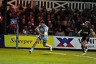 Alex Cuthbert of the Blues runs in to score a second half try.   Rabodirect pro12, Newport Gwent Dragons v Cardiff Blues at Rodney Parade, Newport,  South Wales on Sat 15th Sept 2012.   pic by  Andrew Orchard, Andrew Orchard sports photography,