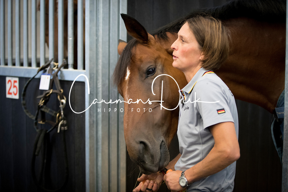Hale Bob, Carmen Thiemann, (groom Ingrid Klimke)<br /> Departure of the horses to the Rio Olympics from Liege Airport - Liege 2016<br /> © Hippo Foto - Dirk Caremans<br /> 30/07/16