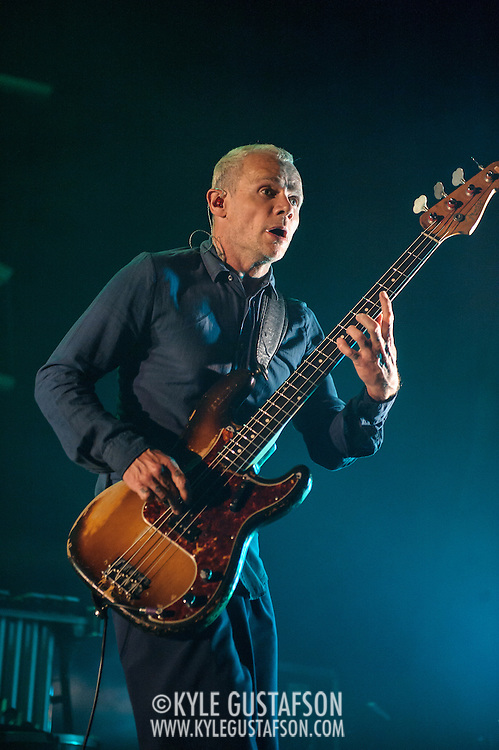 FAIRFAX, VA - September 30th, 2013 - Flea of Atoms For Peace performs at the Patriot Center in Fairfax, VA. The band, which consists of Radiohead's Thom Yorke, Flea, Radiohead producer Nigel Godrich and R.E.M. touring drummer Joey Waronker, performed songs from the group's debut album, Amok, as well as songs from Yorke's solo debut and Radiohead b-sides. (Photo by Kyle Gustafson / For The Washington Post)
