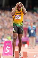 LONDON OLYMPIC GAMES 2012 - OLYMPIC STADIUM , LONDON (ENG) - 07/08/2012 - PHOTO : STEPHANE KEMPINAIRE / POOL / KMSP / DPPI<br /> ATHLETICS - MEN'S 200 M - USAIN BOLT (JAM)