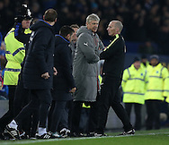 Arsene Wenger manager of Arsenal arms folded glares at the fourth official on the final whistle during the English Premier League match at Goodison Park Stadium, Liverpool. Picture date: December 13th, 2016. Pic Simon Bellis/Sportimage