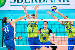 Toncek Stern and Alen Pajk of Slovenia in block during friendly volleyball match between Slovenia and Serbia in Arena Stozice on 2nd of September, 2019, Ljubljana, Slovenia. Photo by Grega Valancic / Sportida
