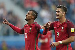 June 24, 2017 - Saint Petersburg, Russia - Nani (L) and André Silva of the Portugal national football team celebrates after scoring a goal during the 2017 FIFA Confederations Cup match, first stage - Group A between New Zealand and Portugal at Saint Petersburg Stadium on June 24, 2017 in St. Petersburg, Russia. (Credit Image: © Igor Russak/NurPhoto via ZUMA Press)