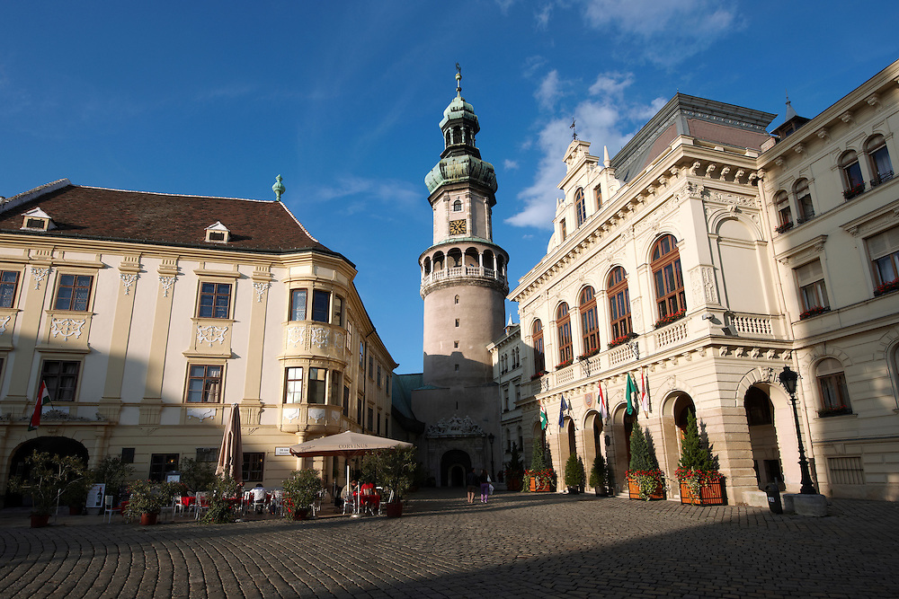 The Fire Tower (T?ztorony) with the Town Hall - Sopron, Hungary .<br /> <br /> Visit our HUNGARY HISTORIC PLACES PHOTO COLLECTIONS for more photos to download or buy as wall art prints https://funkystock.photoshelter.com/gallery-collection/Pictures-Images-of-Hungary-Photos-of-Hungarian-Historic-Landmark-Sites/C0000Te8AnPgxjRg