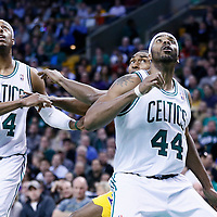07 February 2013: Boston Celtics power forward Chris Wilcox (44) vies for the rebound with Los Angeles Lakers small forward Metta World Peace (15) next to Boston Celtics small forward Paul Pierce (34) during the Boston Celtics 116-95 victory over the Los Angeles Lakers at the TD Garden, Boston, Massachusetts, USA.