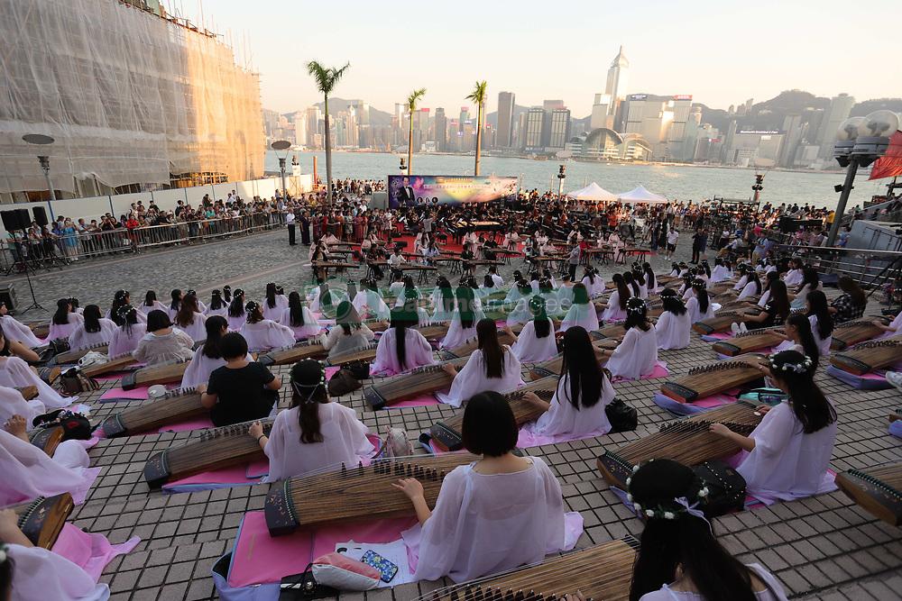 October 4, 2018 - Hong Kong, CHINA - China national day celebration continue in Hong Kong as hundred of young students perform traditional music outdoor using Chinese harps.Oct-4,2018 Hong Kong.ZUMA/Liau Chung-ren (Credit Image: © Liau Chung-ren/ZUMA Wire)