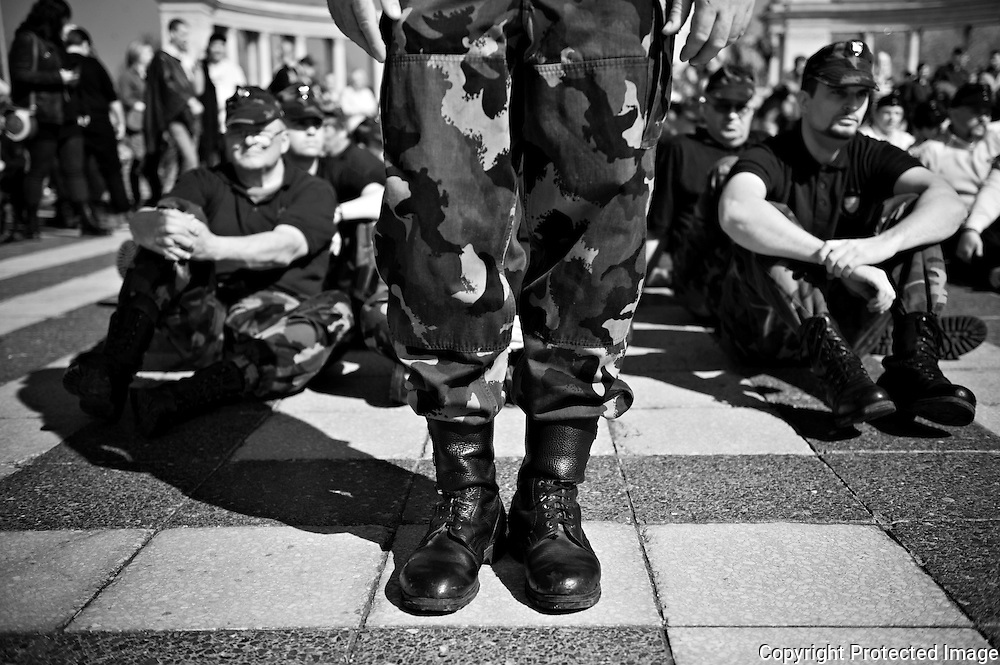 """In March 2012 """"The Hungarian Guard"""",a right-wing extremist paramilitary organization appeared public for the first time in 3 years after being banned by the authorities. 500 policemenn came to make sure that """"The Hungarian Guard"""" was under control. Prison trucks from the Soviet era was lined up to put them in prison incase they did something that the police felt was inappropriate. During their ceremony they had to sit down by order from the police. They obeyed and nothing violent happened."""