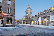 Picture of Marché Bonsecours market taken at dusk/blue hour from Rue Saint-Paul, Old Montreal, Quebec, Canada