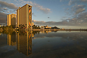Sunset at the lagoon at the Hilton Hawaiian Village in Waikiki, Hawaii.
