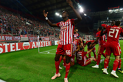 November 8, 2018 - Athens, Attiki, Greece - Pape Abou Risse (no 66) celebrates the first goal of Olympiacos with his team mates..Olympiacos has won F91 Dudelange 5-1 for the UEFA Europa League. (Credit Image: © Dimitrios Karvountzis/Pacific Press via ZUMA Wire)