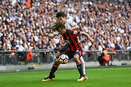 Nathan Ake of AFC Bournemouth holds off Heung Min Son of Tottenham Hotspur.<br /> Premier league match, Tottenham Hotspur v AFC Bournemouth at Wembley Stadium in London on Saturday 14th October 2017.<br /> pic by Kieran Clarke, Andrew Orchard sports photography.