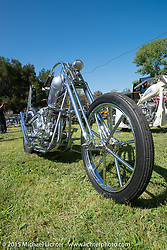 Invited builder Kosuke Saito's custom 1936 Harley-Davidson Knucklehead (that Bill Buckingham will ride in the 2014 Motorcycle Cannonball) on Friday - for the builder-invite bike check-in for the Born-Free 6 Vintage Chopper and Classic Motorcycle Show. Silverado, CA. USA. June 27, 2014.  Photography ©2014 Michael Lichter.