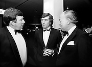 At a banquet in the Burlington Hotel, Dublin, for the presentation of the 28th Texaco Sportstars of the Year awards. Awards were presented by the Tánaiste, Dick Spring TD, to the top ten sports people as selected by a panel of judges. (l–r:) Mick Doyle, Irish rugby international, Pat Jennings, Irish World Cup soccer star, and Dr Karl Mullen, captain of the Grand Slam winning 1948 Irish rugby team and winner of the rugby Hall of Fame Award. <br /> 15 January 1986