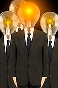 men in suits with lightbulbs for heads, business concept, bright ideas, recruitment, switched on<br />