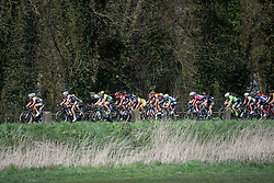 Pelotn roll through the Mouscron countryside - Grand Prix de Dottignies 2016. A 117km road race starting and finishing in Dottignies, Belgium on April 4th 2016.