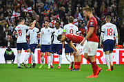 Goal - England players celebrate after Tomas Kalas of Czech Republic scored an own goal to give a 5-0 lead to the home team during the UEFA European 2020 Qualifier match between England and Czech Republic at Wembley Stadium, London, England on 22 March 2019.
