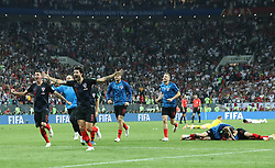 MOSCOW, July 11, 2018  Players of Croatia celebrate victory after the 2018 FIFA World Cup semi-final match between England and Croatia in Moscow, Russia, July 11, 2018. Croatia won 2-1 and advanced to the final. (Credit Image: © Cao Can/Xinhua via ZUMA Wire)