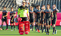 ANTWERPEN - Teleurstelling bij Oranje , met in het midden keeper Pirmin Blaak (Ned)  na  halve finale  mannen, Nederland-Spanje (3-4) ,  bij het Europees kampioenschap hockey.  COPYRIGHT KOEN SUYK