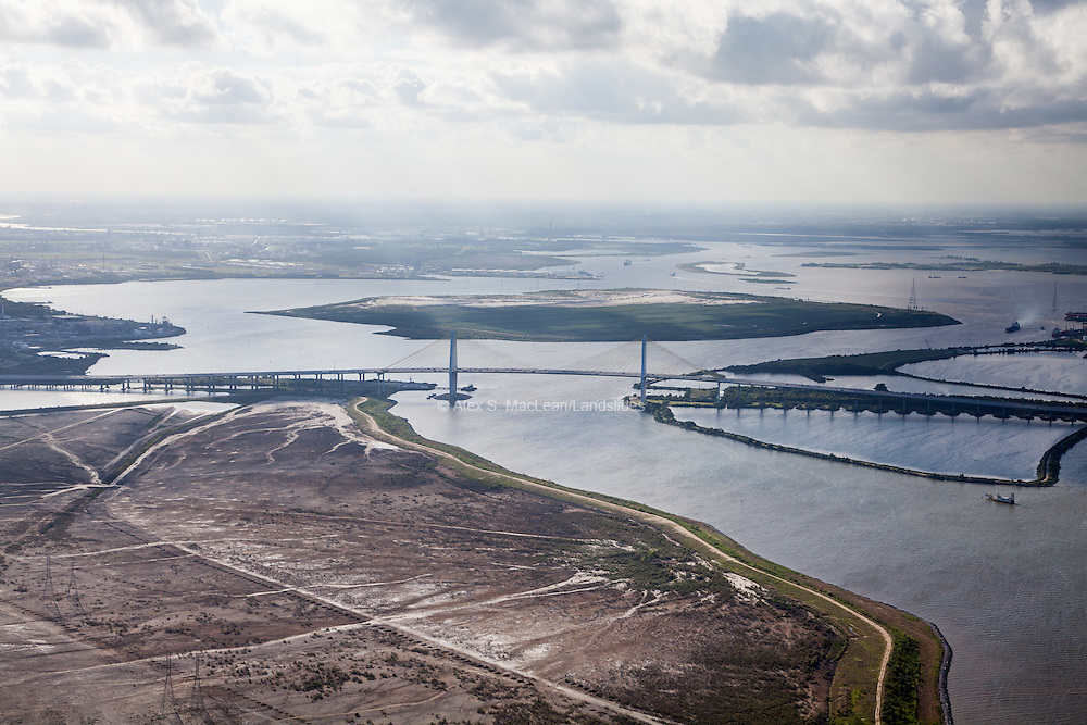 An overview of the Houston Ship Channel and Fred Hartman Bridge crossing