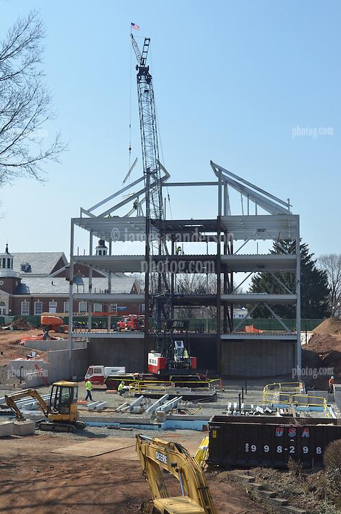 Alternate Vertical View, East Elevation with Crane erecting steel. Central Connecticut State University. New Academic Building. CT-DCS Project No: BI-RC-324 Architect: Burt Hill Kosar Rittelmann Associates. Contractor: Gilbane, Inc.