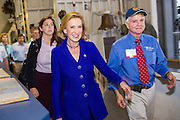 Former CEO and GOP presidential hopeful Carly Fiorina arrives at the USS Yorktown aircraft carrier museum to attend the South Carolina Young College Republicans mixer October 2, 2015 in Mt Pleasant, South Carolina. Florina attended despite extreme weather as Hurricane Joaquin passes offshore.