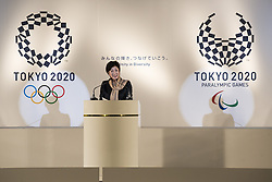 September 21, 2016 - Tokyo, Tokyo, Japan - Tokyo Metropolitan Governor Yuriko Koike speaks during the ceremony of Olympic and Paralympic Flag-Raising organized by the Tokyo Metropolitan Government and the Organizing Committee of Tokyo 2020. (Credit Image: © Alessandro Di Ciommo via ZUMA Wire)