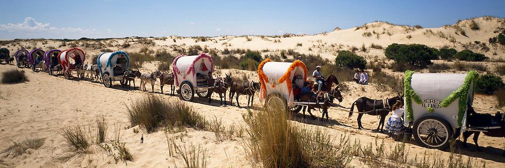 SPAIN, ANDALUSIA, FESTIVALS El Rocio; pilgrimage thru La Donana dunes