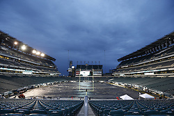 A General View of Lincoln Financial Field with a tarp covering the field before the NFL game between the Chicago Bears and the Philadelphia Eagles on Sunday, December 22nd 2013 in Philadelphia. (Photo by Brian Garfinkel)