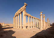 Walled courtyard, or temenos of the Temple of Bel, surrounding the cella, or main temple, Palmyra, Syria. Ancient city in the desert that fell into disuse after the 16th century.