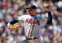 April 8, 2018 - Denver, CO, U.S. - DENVER, CO - APRIL 08: Atlanta Braves Starting Pitcher Sean Newcomb (15) pitches during a regular season MLB game between the Colorado Rockies and the visiting Atlanta Braves on April 8, 2018 at Coors Field in Denver, CO. (Photo by Russell Lansford/Icon Sportswire) (Credit Image: © Russell Lansford/Icon SMI via ZUMA Press)
