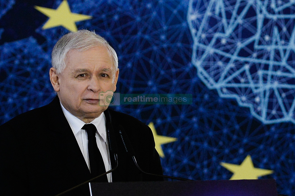 April 30, 2019 - Krakow, Poland - The current Leader of Law and Justice Party, Jaroslaw Kaczynski is seen giving a speech during a campaign ahead of the European Elections.. European parliamentary elections are scheduled to take place between May 23 and 26. (Credit Image: © Omar Marques/SOPA Images via ZUMA Wire)