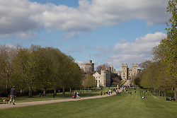 Windsor, UK. 16th April, 2021. The Long Walk in Windsor Great Park is pictured on the eve of the funeral of the Duke of Edinburgh. The funeral of Prince Philip, Queen Elizabeth II's husband, will take place at St George's Chapel in Windsor Castle at 15:00 BST on 17th April, with the ceremony restricted to 30 mourners in accordance with current coronavirus restrictions.