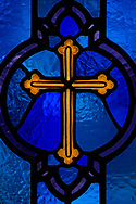 Stained glass depicting a cross on Wednesday, Dec. 16, 2020, at Immanuel Lutheran Church, Festus, Mo. LCMS Communications/Erik M. Lunsford