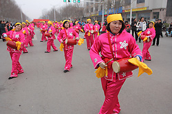 January 31, 2018 - Zaozhuang, Zaozhuang, China - Zaozhuang,CHINA-31st January 2018: Various folk performance including walking on the stilts, lion and dragon dancing can be seen in Zaozhuang, east China's Shandong Province. (Credit Image: © SIPA Asia via ZUMA Wire)