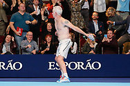 John McEnroe removes his shirt to toss into the crowd after victory after the Champions Tennis match at the Royal Albert Hall, London, United Kingdom on 6 December 2018. Picture by Ian Stephen.