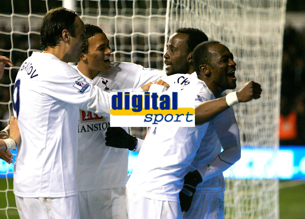 Photo: Tom Dulat.<br /> <br /> Tottenham Hotspur v Blackpool. Carling Cup. 31/10/2007.<br /> <br /> Pascal Chimbonda(second from right) scores second goal for Tottenham Hotspur, Tottenham leads 2-0, Didier Zokora(first right) celebrates with him